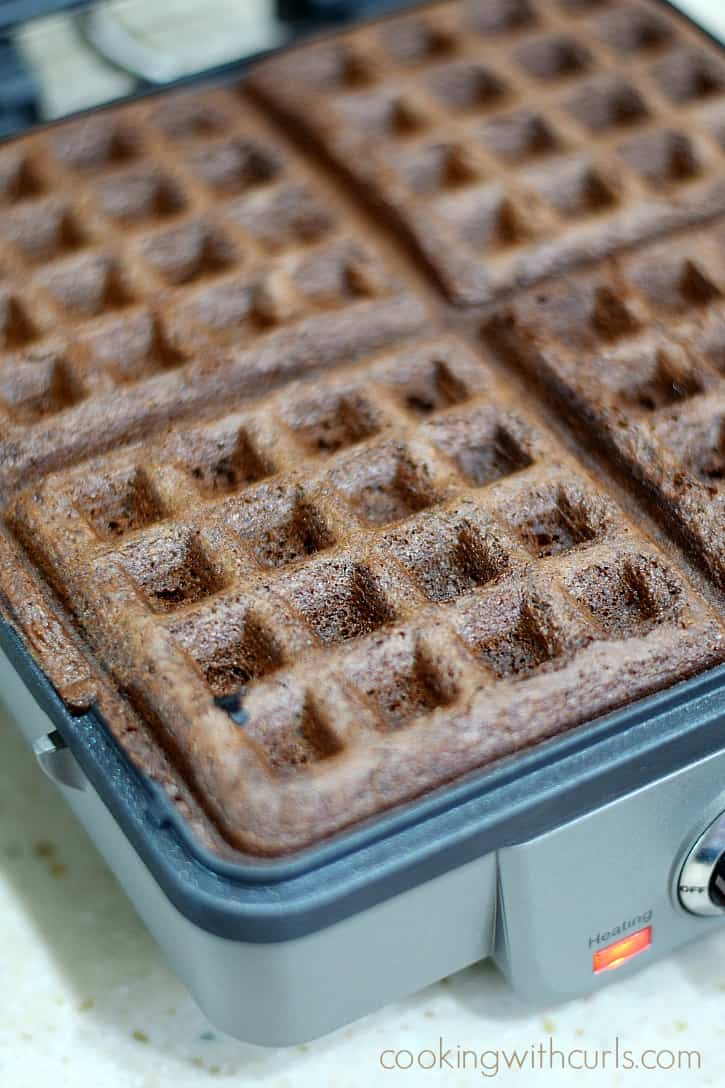 Fresh, delicious Waffled Brownies in minutes using your waffle iron | cookingwithcurls.com