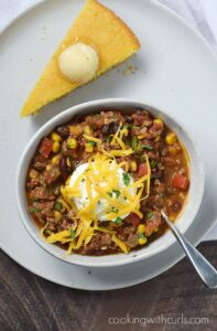 A nice big bowl of Southwest Chili with Black Beans and Corn is exactly what you need to warm you up on a cold, winter night | cookingwithcurls.com