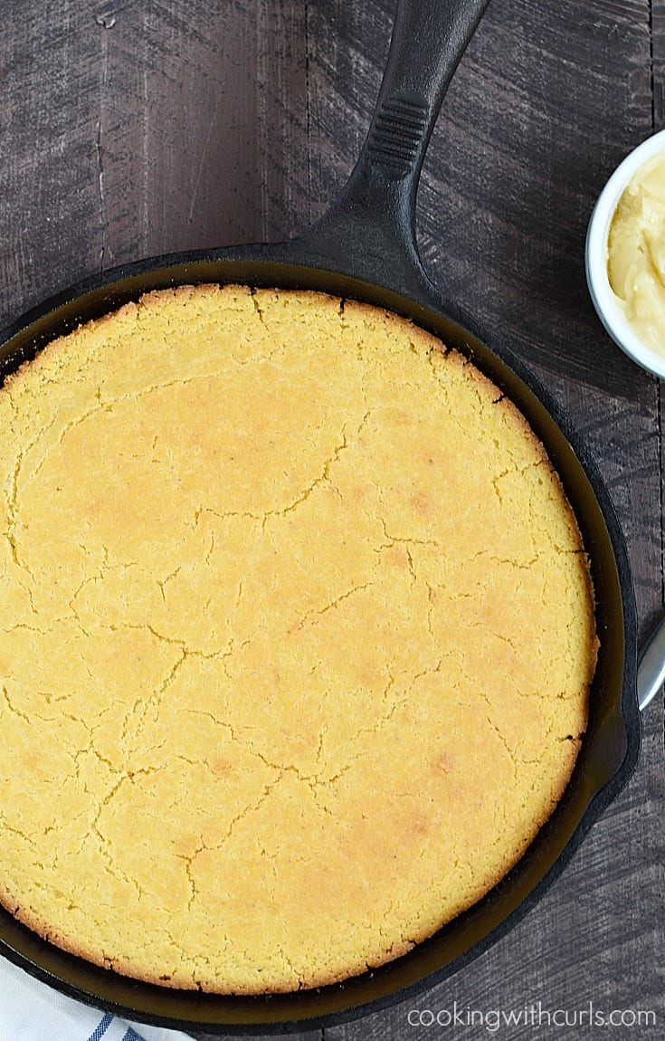 Hot and delicious Skillet Cornbread served with creamy Honey Butter | cookingwithcurls.com