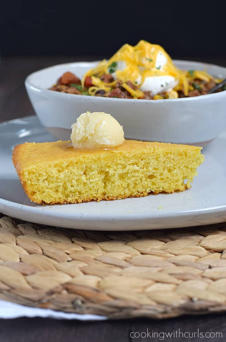 Hot and delicious Skillet Cornbread topped with whipped Honey Butter | cookingwithcurls.com