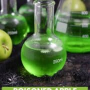 Three Poisoned Apple Cocktails in glass science bottles and a large beaker with title graphic across the bottom.