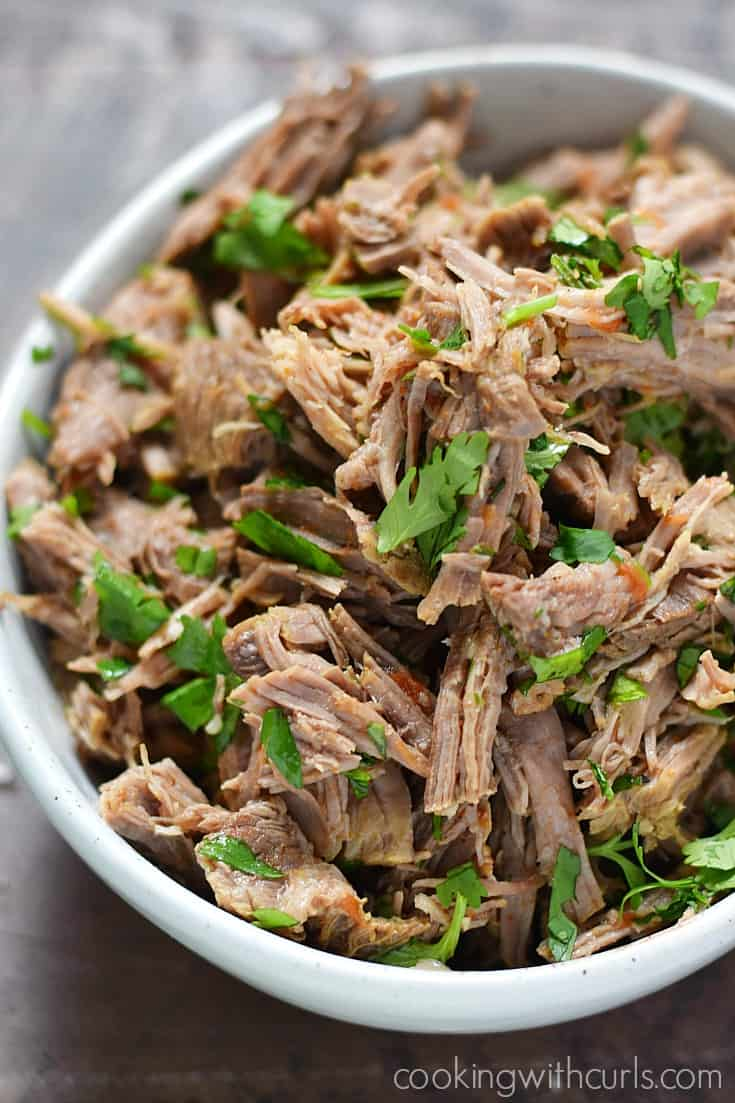 Mexican Style Shredded Beef in a white bowl.