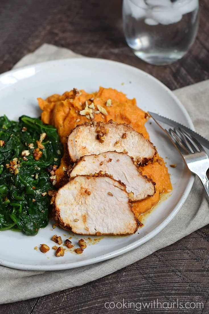 Your family will love this Pecan-Crusted POrk Tenderloin with Mashed Sweet POtatoes. there are so many delicious flavors to enjoy, they won't even notice that it is healthy | cookingwithcurls.com