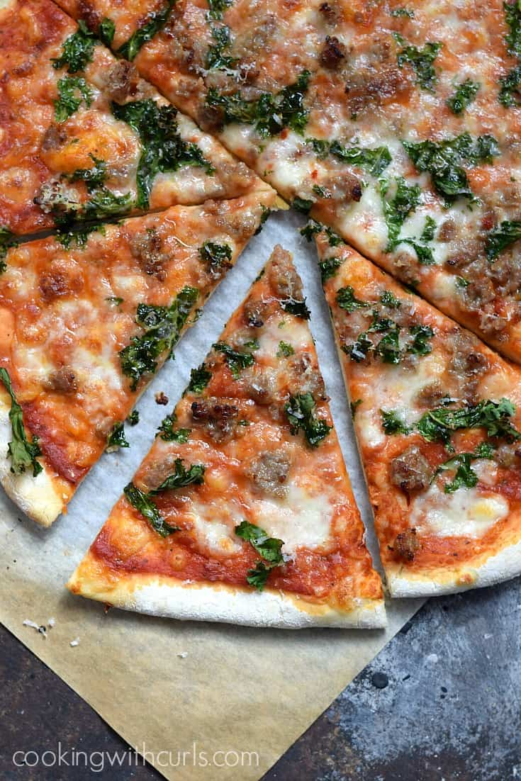 Everyone loves pizza night and this Sausage and Kale Pizza will impress your toughest critics | cookingwithcurls.com