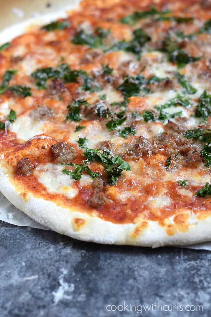 Hot and delicious Sausage and Kale Pizza fresh out of your oven | cookingwithcurls.com