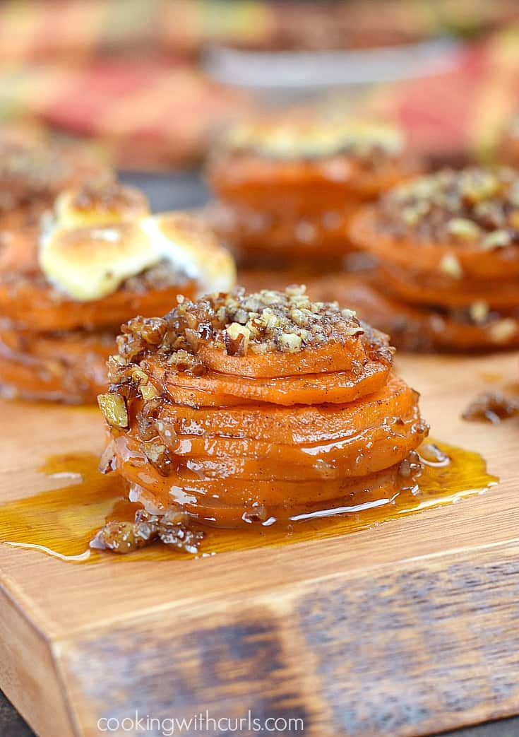 Impress your guests with these fun Candied Sweet Potato Stacks for a twist on a traditional side dish | cookingwithcurls.com