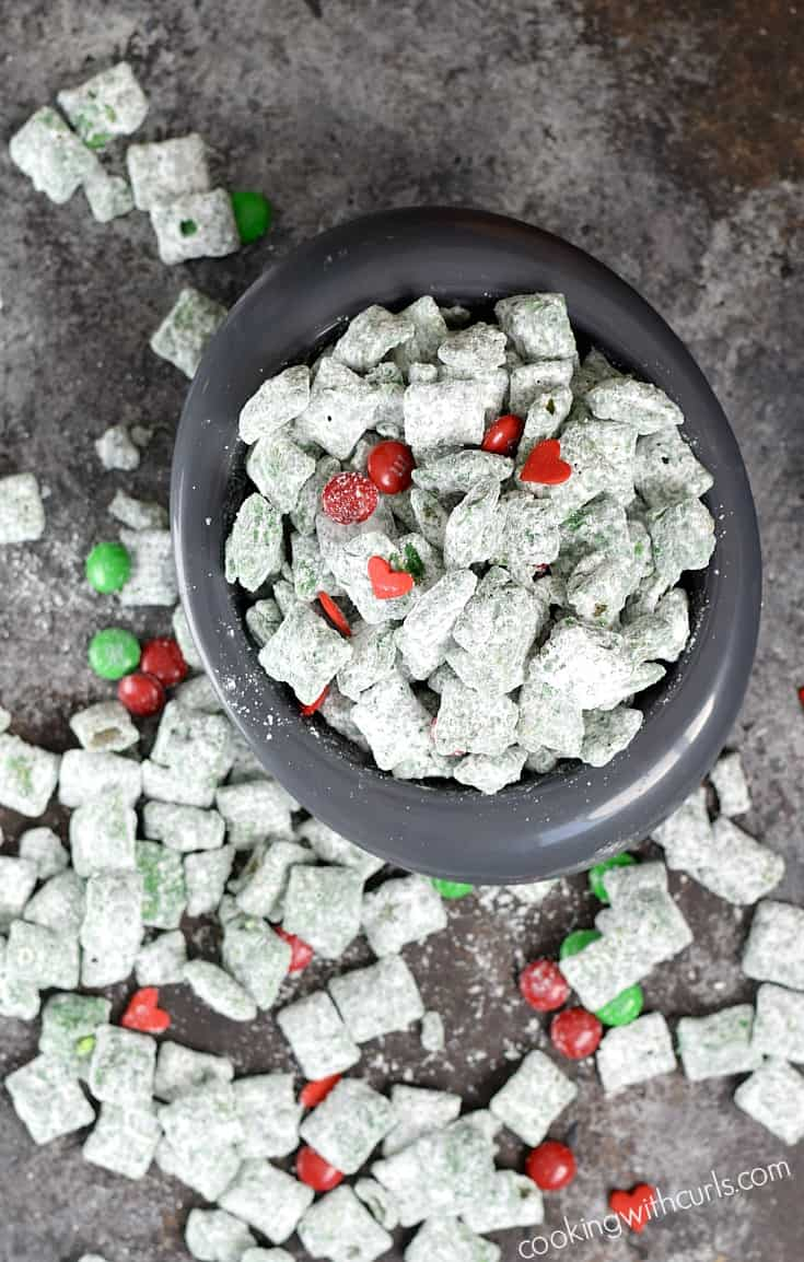 Max and all the Whos in Who-ville will love snacking on this Grinch Puppy Chow this holiday season | cookingwithcurls.com