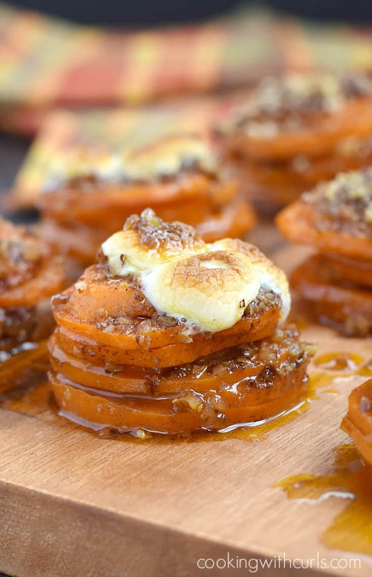 These Candied Sweet Potato Stacks are guaranteed to impress your guest with their delicious flavor and unique twist on a holiday favorite | cookingwithcurls.com