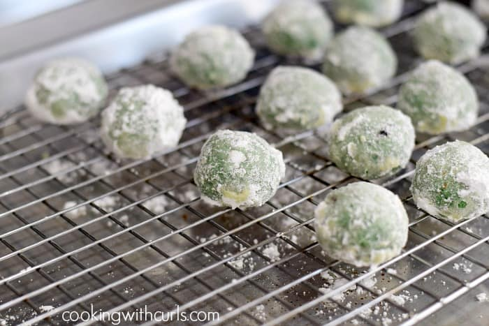 Grinch Snowballs roll cookingwithcurls.com