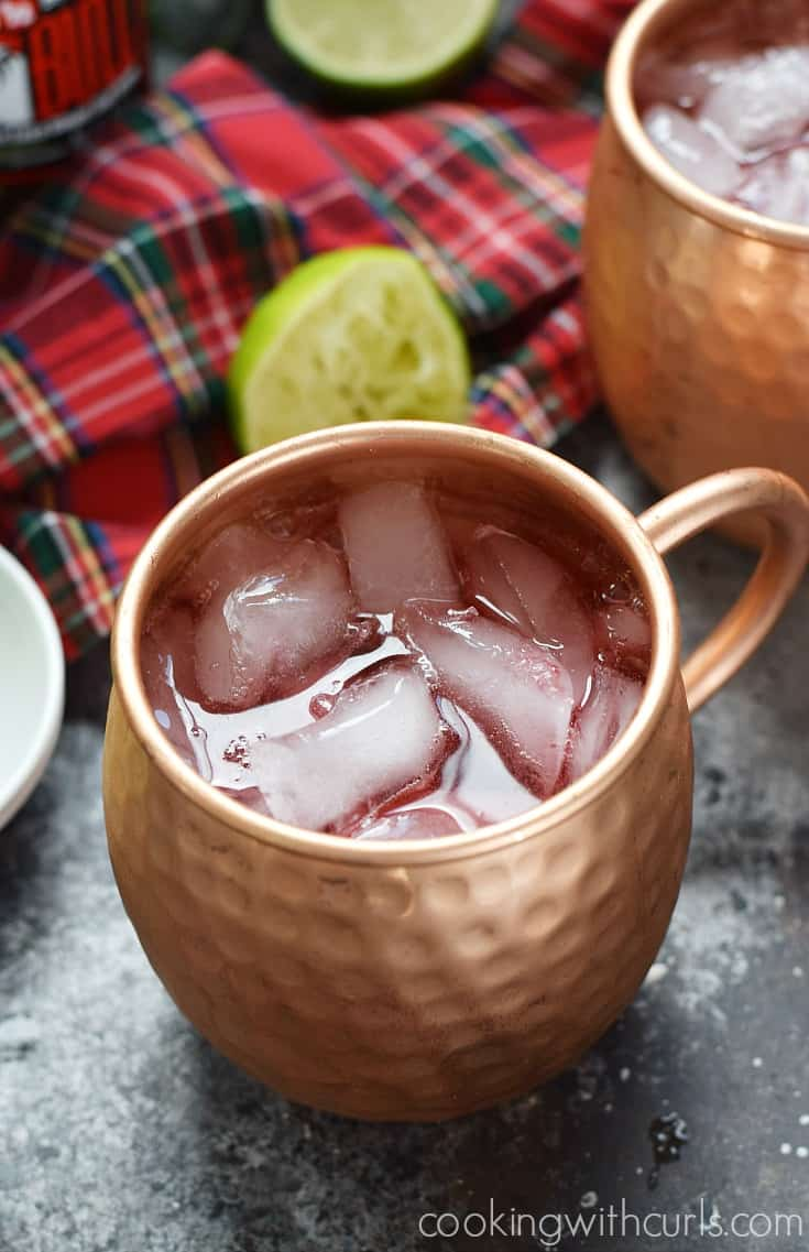 Pomegranate Yule Mule ginger beer cookingwithcurls.com