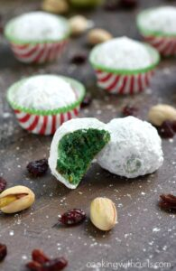 Grinch Snowball Cookies