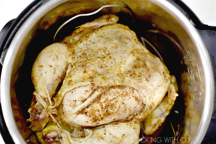 Looking down on a cooked whole chicken in a pressure cooker.