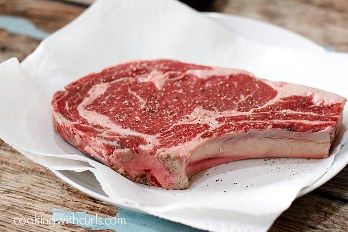 Pan-Seared Ribeye Steak towel cookingwithcurls.com