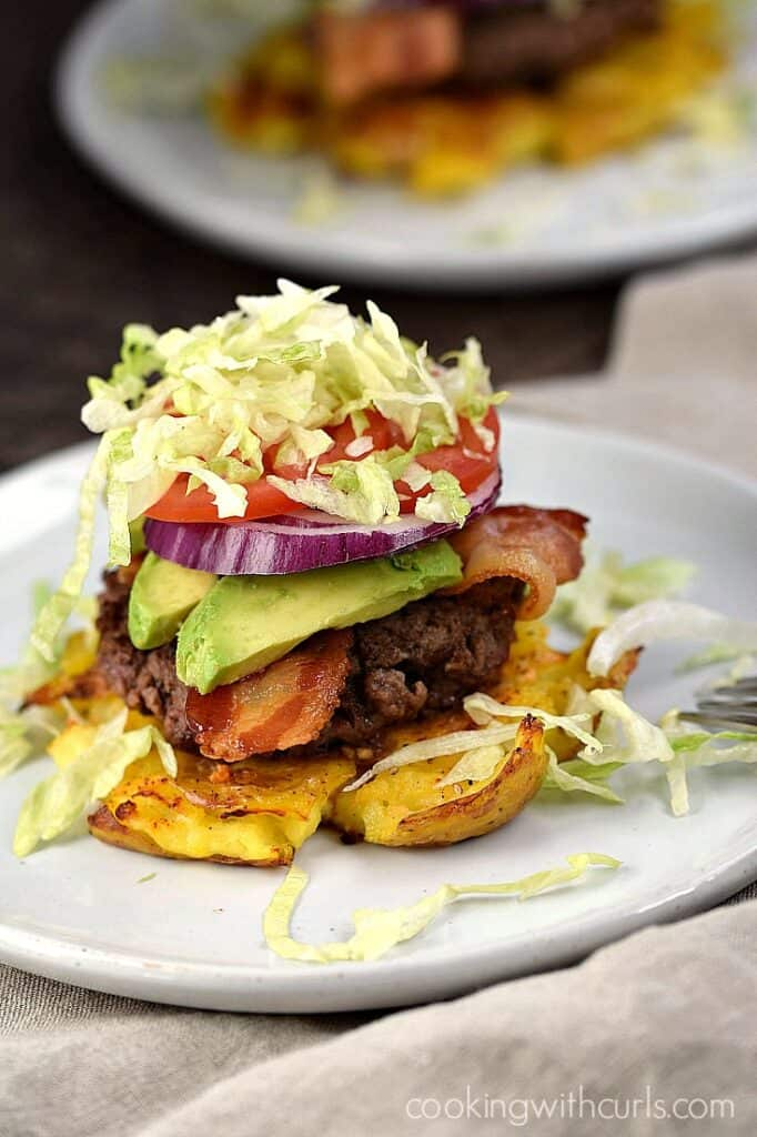 Smashed Potato Burgers with all the your favorite toppings! cookingwithcurls.com