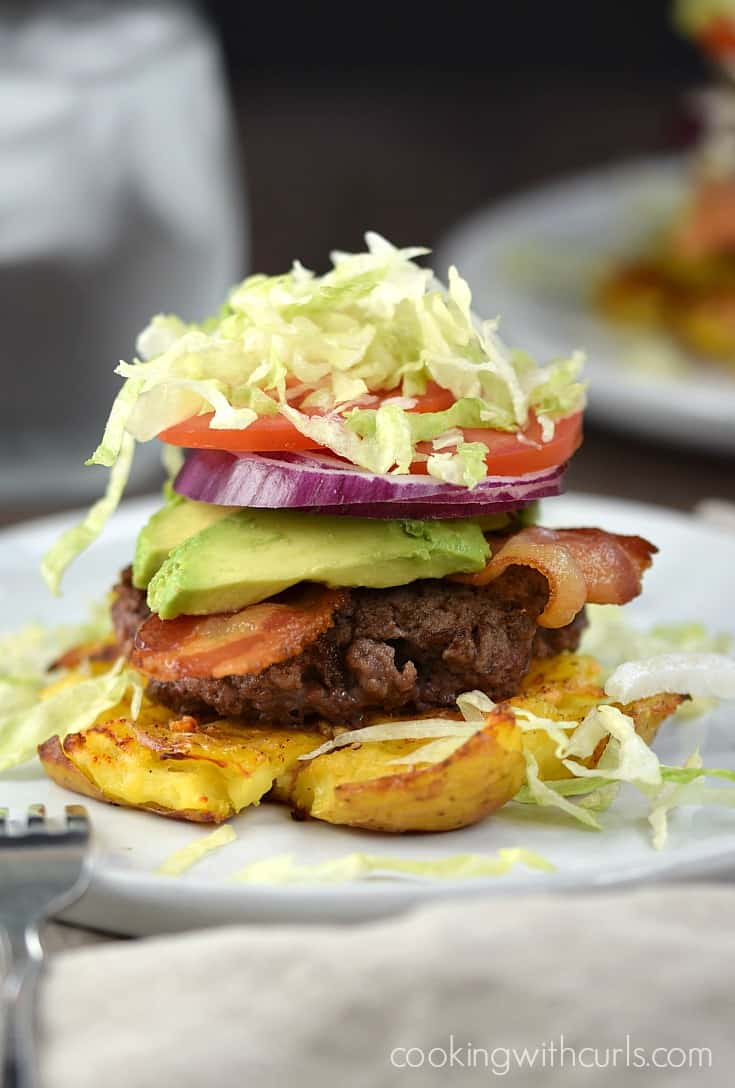 These gluten-free Smashed Potato Burgers are perfect when you can't eat the bun | cookingwithcurls.com