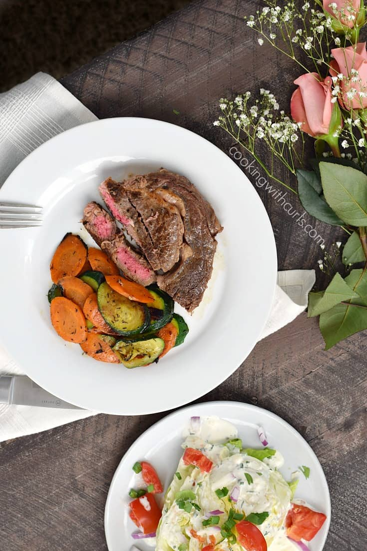 This Pan-Seared Ribeye Steak served with a Wedge Salad and Sauteed Zucchini and Carrots is the perfect, easy to prepare Romantic Meal for Two | cookingwithcurls.com