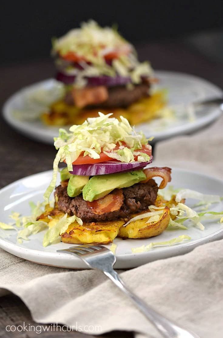 You won't even miss the bun once you dig into these delicious Smashed Potato Burgers! cookingwithcurls.com