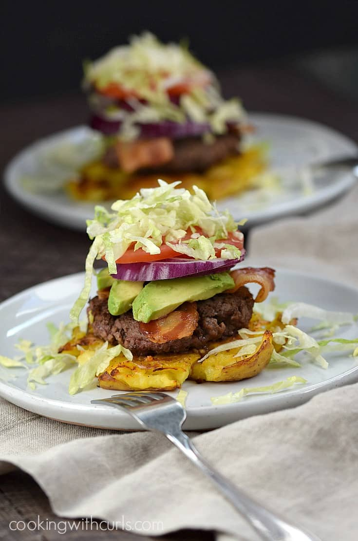 You won't even miss the bun once you dig into these delicious Smashed Potato Burgers | cookingwithcurls.com