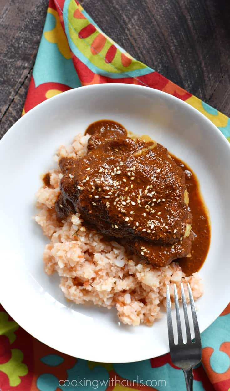 Your family and friends will never guess that this Whole 30 Mole Sauce is healthy, because it is so rich and delicious | cookingwithcurls.com