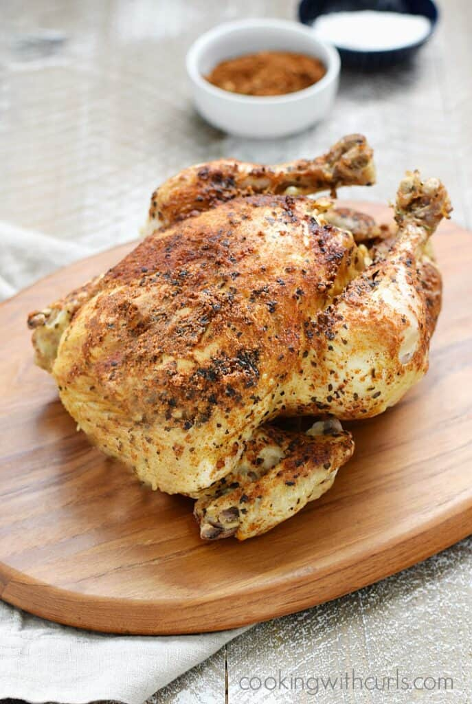 Your family is going to love this Instant Pot Faux-tisserie Chicken just as much as the ones you buy in the store, but you get to control the ingredients | cookingwithcurls.com