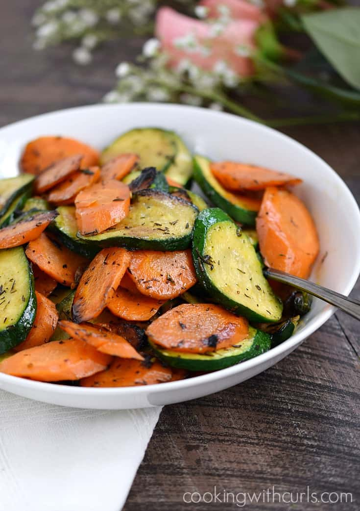 Easy Sauteed Zucchini and Carrots, the perfect side dish | cookingwithcurls.com