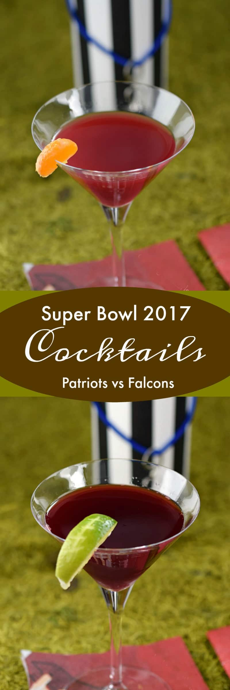Every big game needs cocktails and these Super Bowl 2017 Cocktails do not disappoint. Let your guests choose Patriots vs Falcons | cookingwithcurls.com