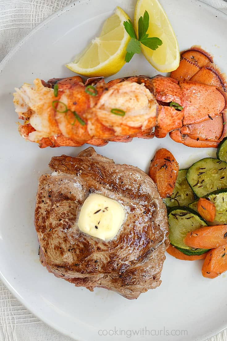 Make date night extra special with Broiled Lobster Tails and Pan-Seared Ribeye Steaks | cookingwithcurls.com