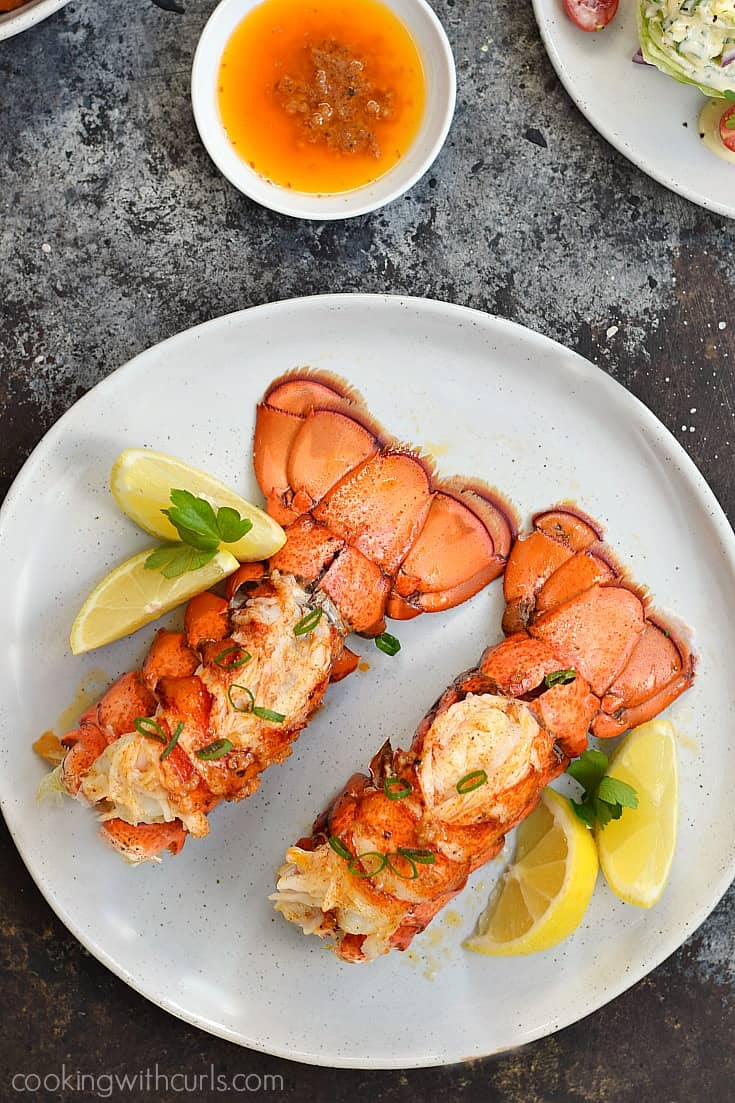 These easy Broiled Lobster Tails take only minutes to prepare and it's guaranteed to wow your dinner guests | cookingwithcurls.com