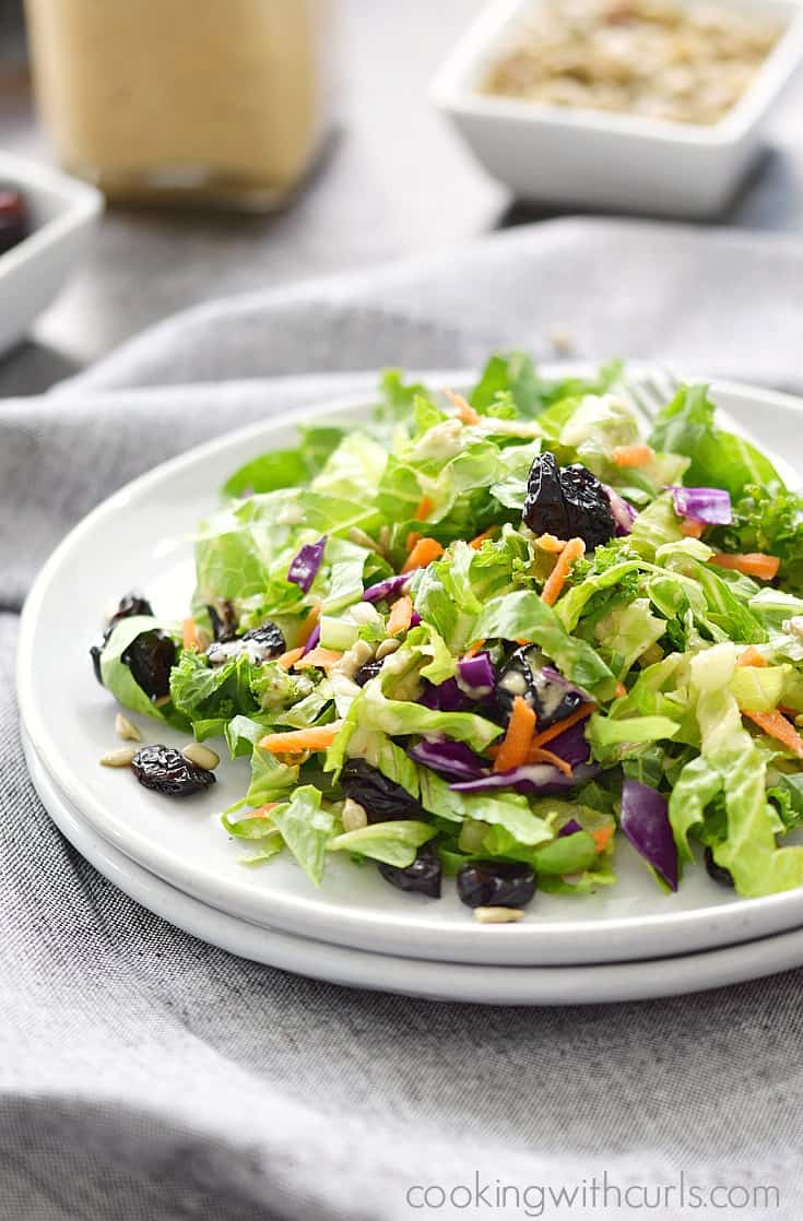 A Delicious Superfood Salad topped with Sweet Onion and Citrus Dressing cookingwithcurls.com