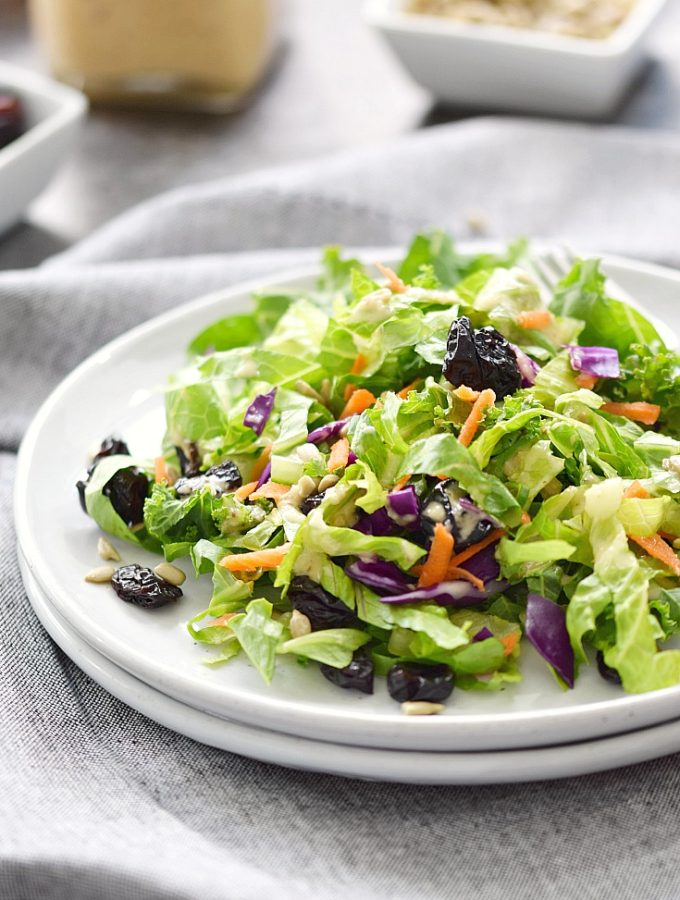 A Delicious Superfood Salad topped with Sweet Onion and Citrus Dressing | cookingwithcurls.com