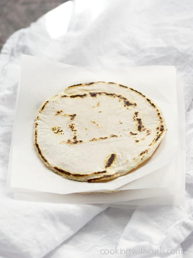 A stack of hot, fresh Cassava Flour Tortillas | cookingwithcurls.com