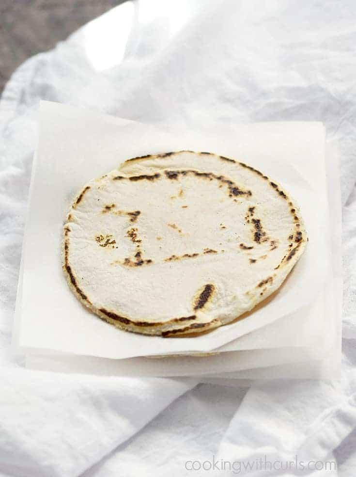 A stack of hot, fresh Cassava Flour Tortillas | cookingwithcurls.com
