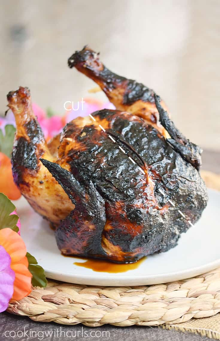 Whole Huli Huli Chicken on a white plate with a line to show where to cut.