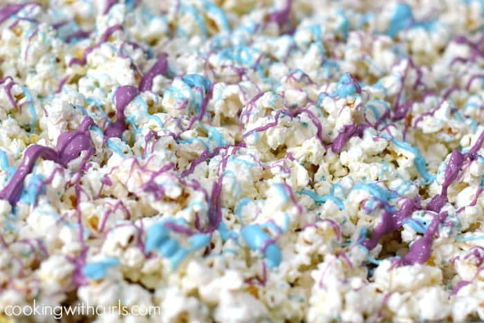 Springtime Chocolate Covered Popcorn drizzle cookingwithcurls.com