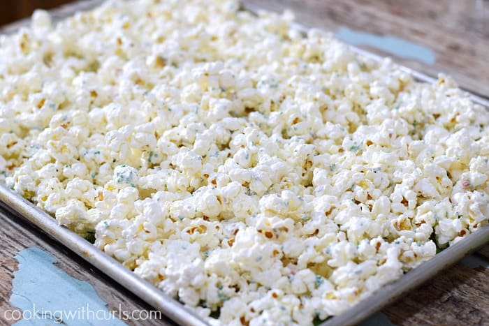 Springtime Chocolate Covered Popcorn pan cookingwithcurls.com