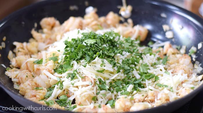 Creamy Seafood Enchiladas cheese cookingwithcurls.com