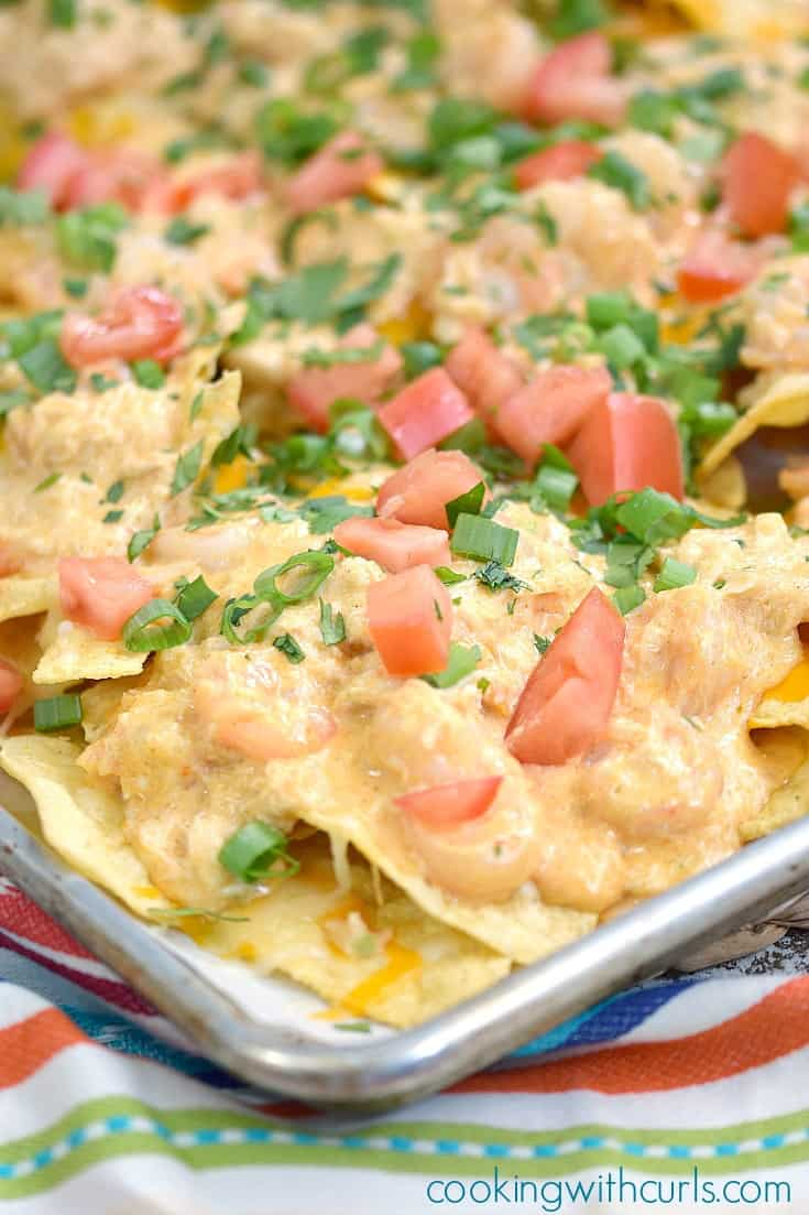Creamy Seafood Nachos   cookingwithcurls.com #ad #cincodemayo
