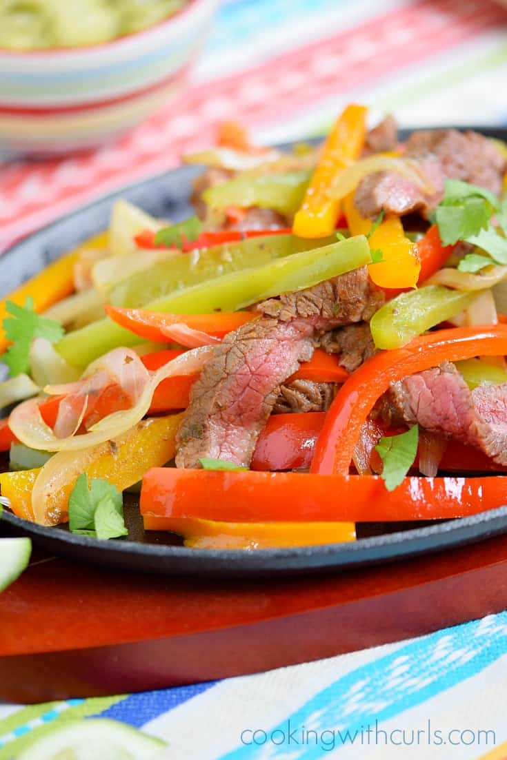 Serve Grilled Steak Fajitas with tortillas, and topped with your ...