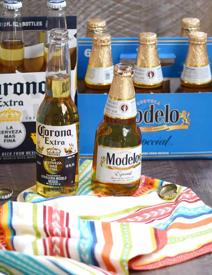 Msg 4 21+ It's not Cinco de Mayo without some cold Corona and Modelo | cookingwithcurls.com #CervezaCelebration #ad