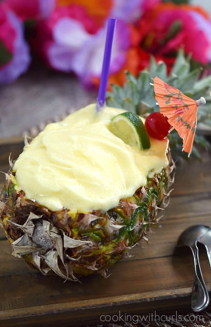Pineapple Daiquiri Sorbet | cookingwithcurls.com