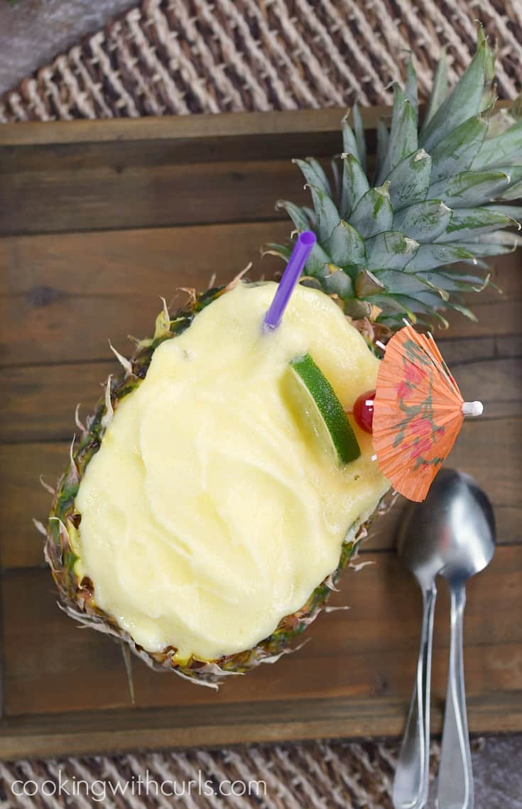 This Pineapple Daiquiri Sorbet will transport you back to the Hawaiian Islands, at least in your mind | cookingwithcurls.com