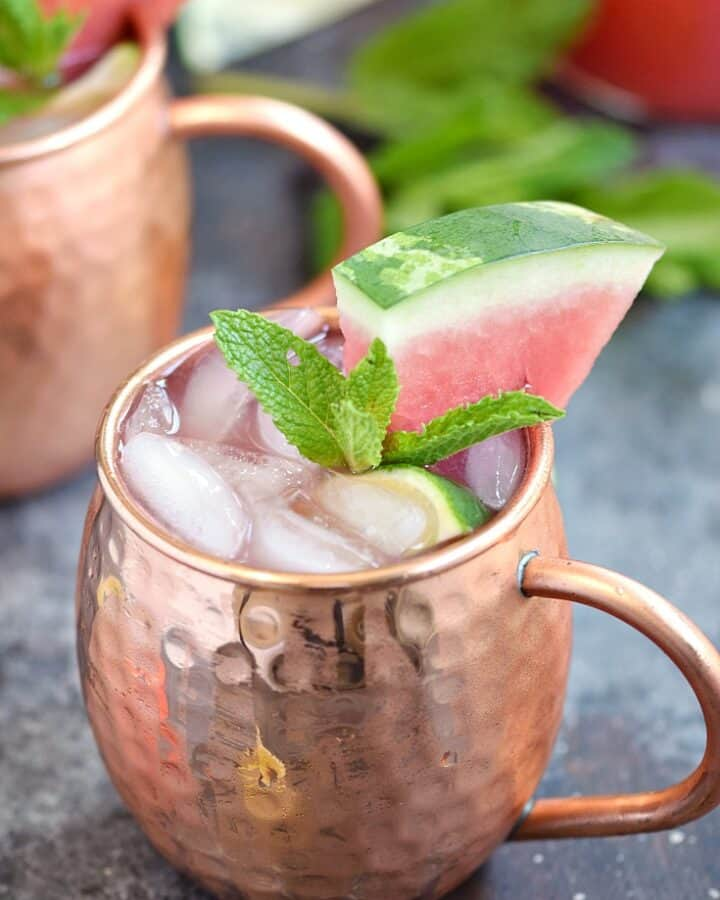 A cool and refreshing Watermelon Moscow Mule is the perfect summer cocktail | cookingwithcurls.com
