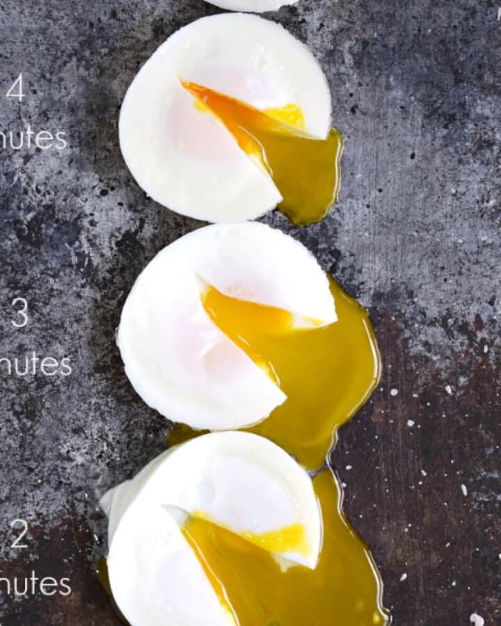 three poached eggs cut open to show inside at two, three and four minutes cooked in an Instant Pot.