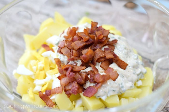 Instant Pot Bacon Potato Salad mix cookingwithcurls.com