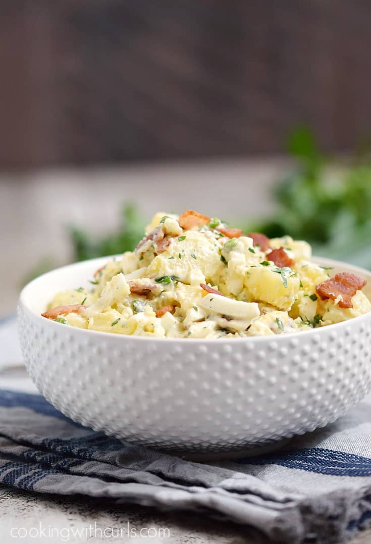 This Instant Pot Bacon Potato Salad is my absolute favorite summer side dish! cookingwithcurls.com