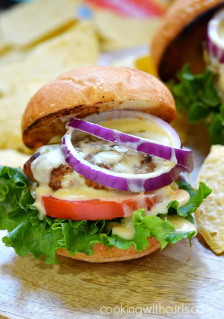 Forget boring burgers, sink your teeth into these delicious Mexican Burgers with Queso Blanco | cookingwithcurls.com