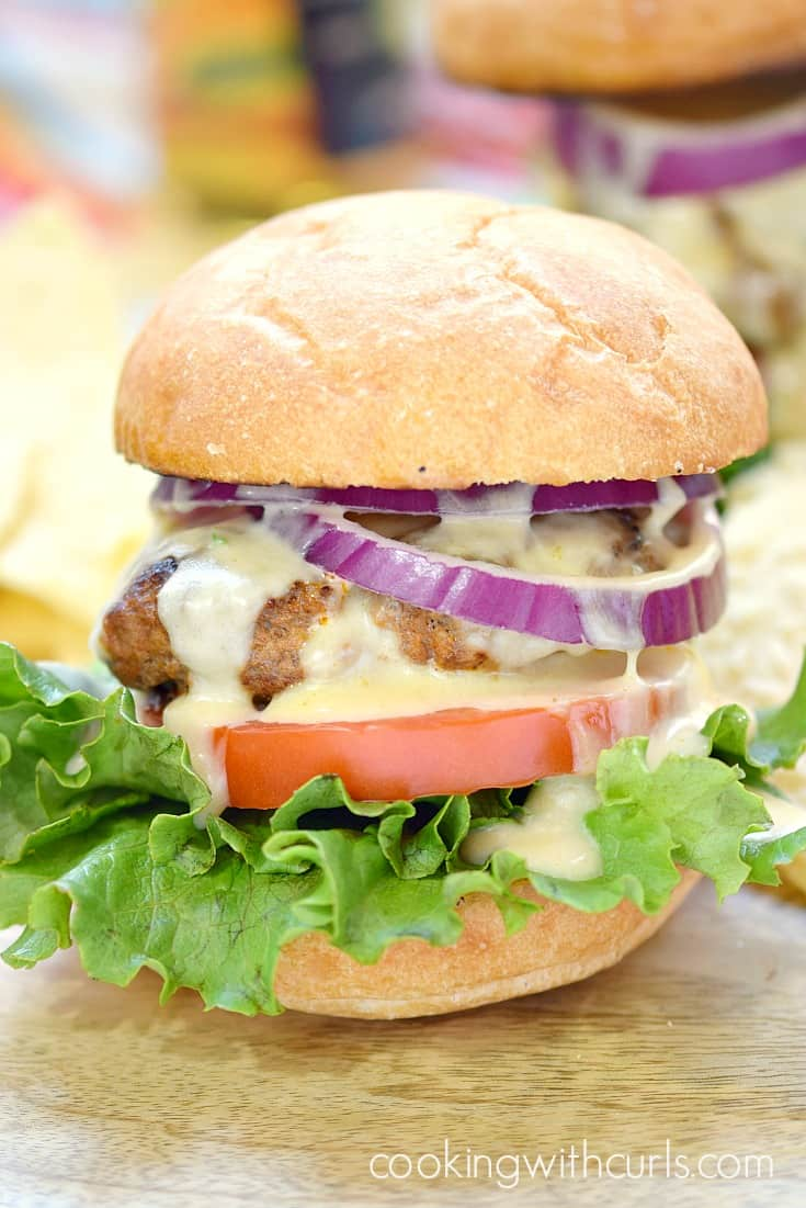 Mexican Burgers with Queso Blanco | cookingwithcurls.com