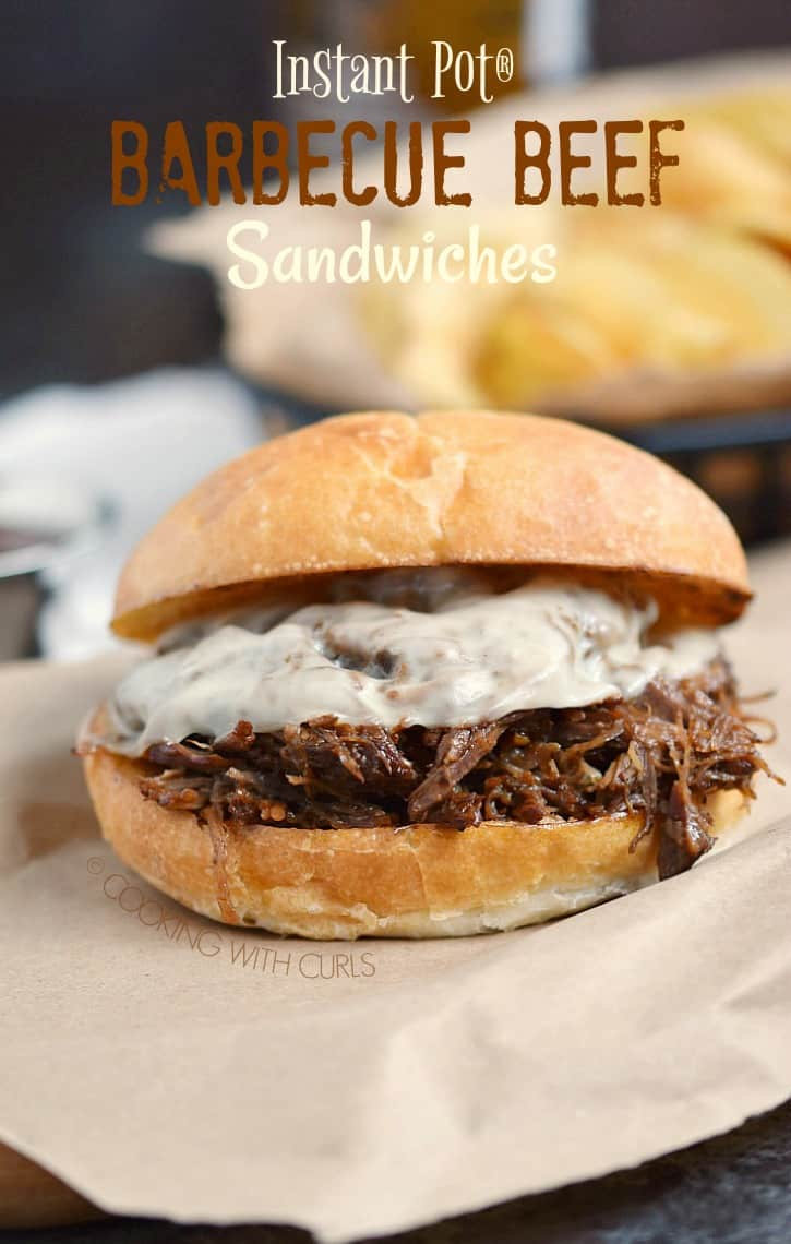 These Instant Pot Barbecue Beef Sandwiches are super easy to make, and perfect for quick weeknight meals! #instantpot #pressurecooker #beef #sandwiches #easymeals #barbecuesauce