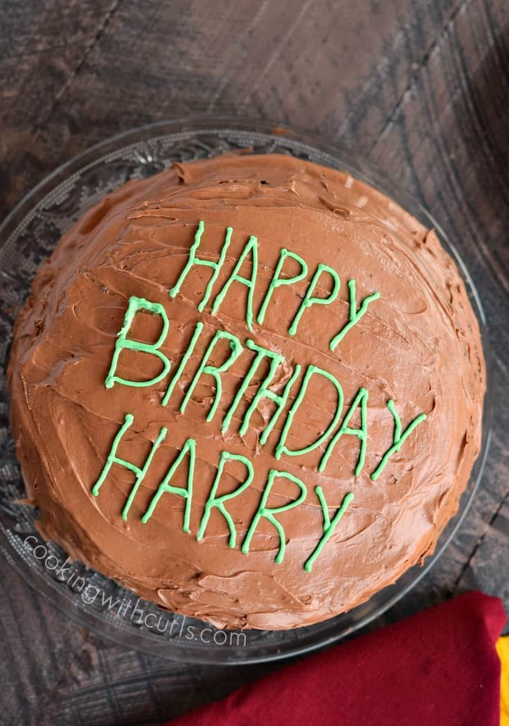 An Old-Fashioned Chocolate Fudge Cake is perfect for any birthday celebration, including Harry Potter's! cookingwithcurls.com