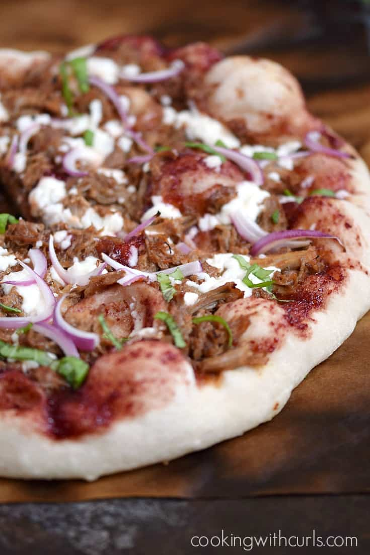 Cherry Bourbon Barbecue Pork Pizza | cookingwithcurls.com